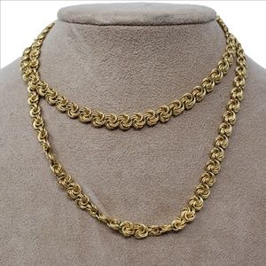Signed TRIFARI Goldtone Swirl Rolo Chain 30""